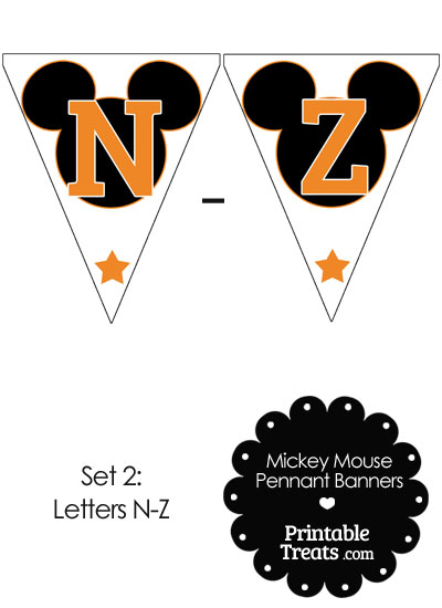Orange Mickey Mouse Pennant Banner Letters N-Z from PrintableTreats.com