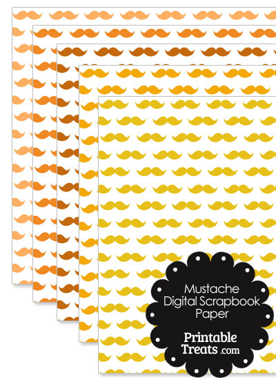 Orange Mustache Digital Scrapbook Paper from PrintableTreats.com