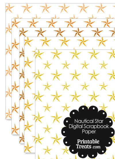 Orange Nautical Star Digital Scrapbook Paper from PrintableTreats.com