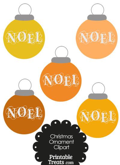 Orange Noel Christmas Ornament Clipart from PrintableTreats.com