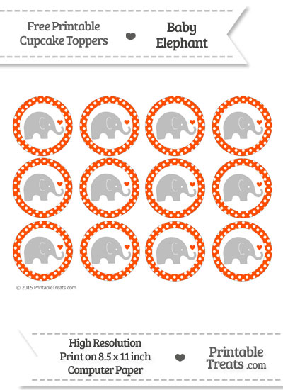 Orange Polka Dot Baby Elephant Cupcake Toppers from PrintableTreats.com