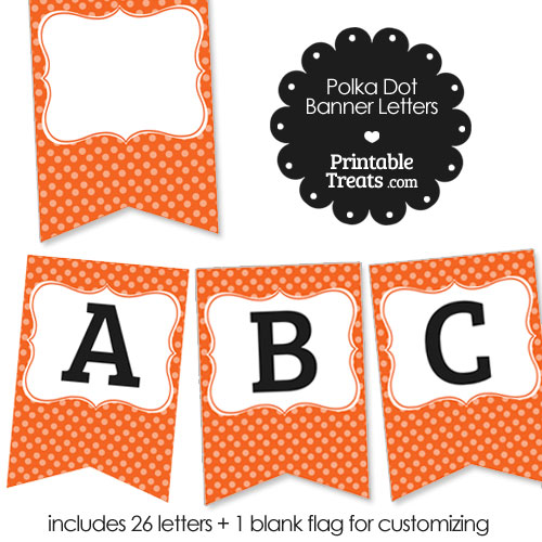 orange polka dot party banner letters