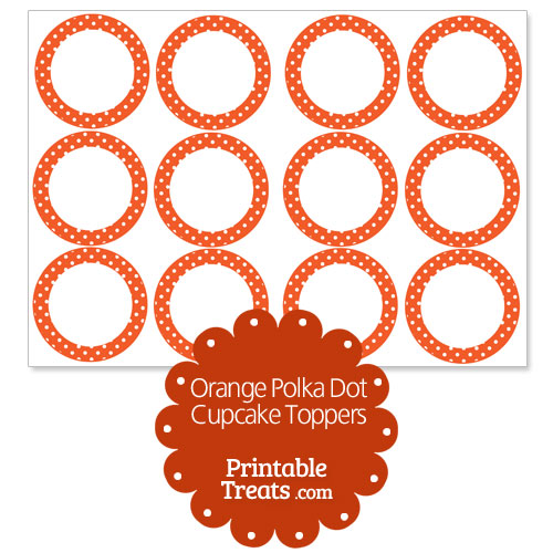 orange polka dot cupcake toppers
