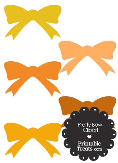 Orange Pretty Bow Clipart from PrintableTreats.com