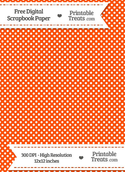 Orange Raised Mini Polka Dots Digital Paper from PrintableTreats.com