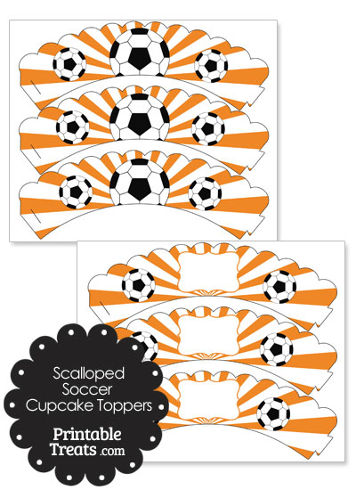 Orange Scalloped Sunburst Soccer Cupcake Wrappers from PrintableTreats.com