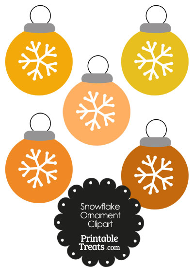 Orange Snowflake Ornament Clipart from PrintableTreats.com
