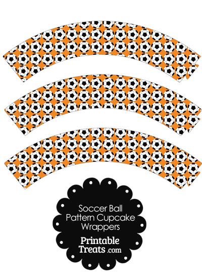 Orange Soccer Ball Pattern Cupcake Wrappers from PrintableTreats.com