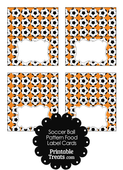 Orange Soccer Ball Pattern Food Labels from PrintableTreats.com