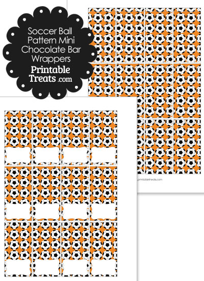 Orange Soccer Ball Pattern Mini Chocolate Bar Wrappers from PrintableTreats.com