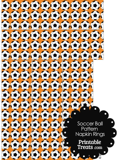 Orange Soccer Ball Pattern Napkin Rings from PrintableTreats.com