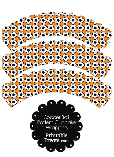 Orange Soccer Ball Pattern Scalloped Cupcake Wrappers from PrintableTreats.com