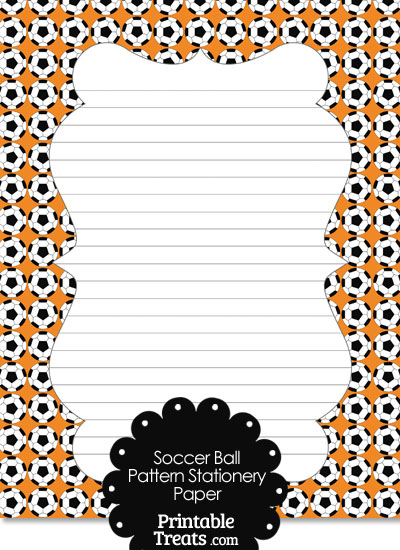 Orange Soccer Ball Pattern Stationery Paper from PrintableTreats.com