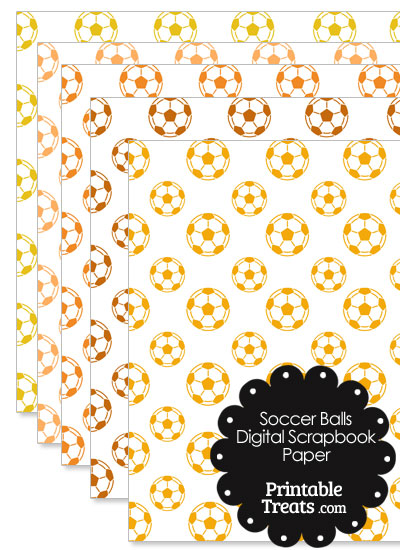 Orange Soccer Digital Scrapbook Paper from PrintableTreats.com