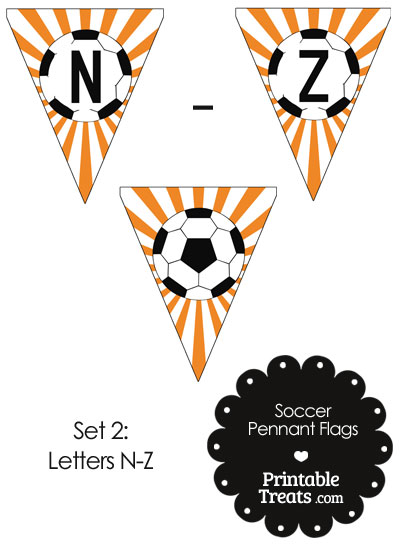 Orange Soccer Party Flag Letters N-Z from PrintableTreats.com