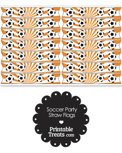 Orange Soccer Party Straw Flags from PrintableTreats.com