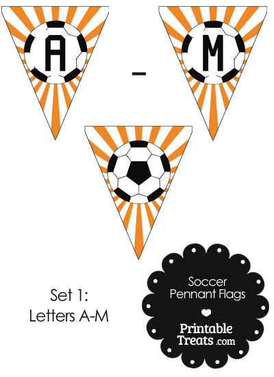 Orange Soccer Pennant Banner Flag Letters A-M from PrintableTreats.com
