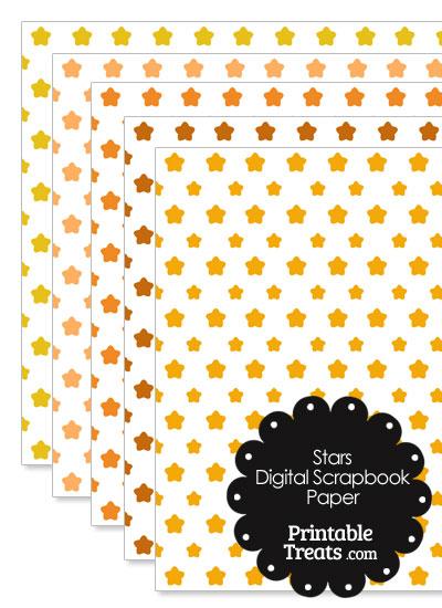 Orange Star Digital Scrapbook Paper from PrintableTreats.com