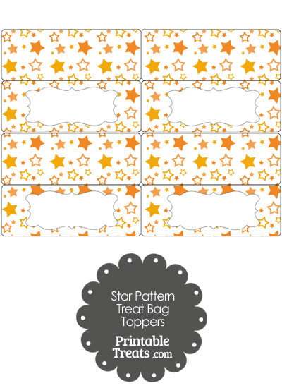 Orange Star Pattern Treat Bag Toppers from PrintableTreats.com