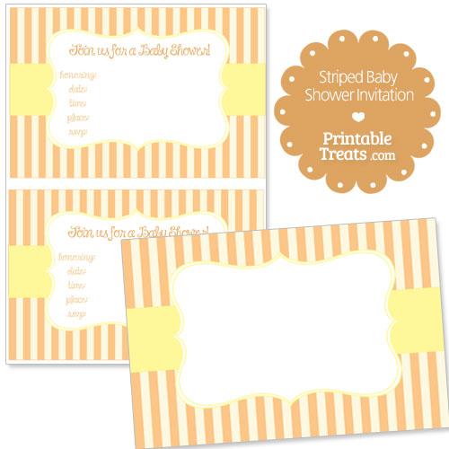 orange striped baby shower invitation