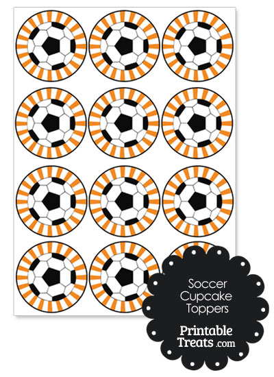 Orange Sunburst Soccer Cupcake Toppers from PrintableTreats.com