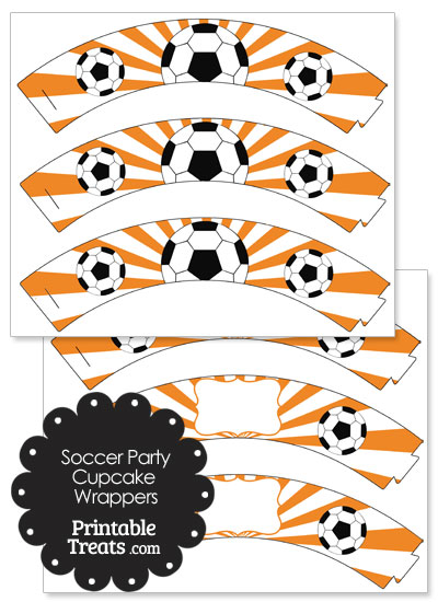 Orange Sunburst Soccer Cupcake Wrappers from PrintableTreats.com