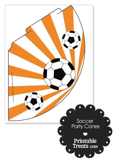 Orange Sunburst Soccer Party Cones from PrintableTreats.com