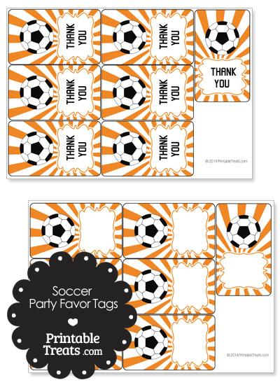 Orange Sunburst Soccer Party Favor Tags from PrintableTreats.com