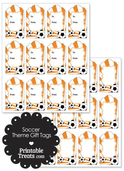 Orange Sunburst Soccer Paper Gift Tags from PrintableTreats.com