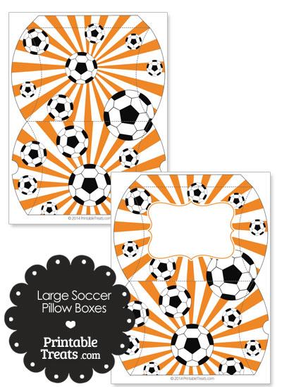 Orange Sunburst Soccer Party Large Pillow Boxes from PrintableTreats.com