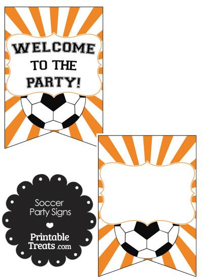 Orange Sunburst Soccer Party Signs from PrintableTreats.com