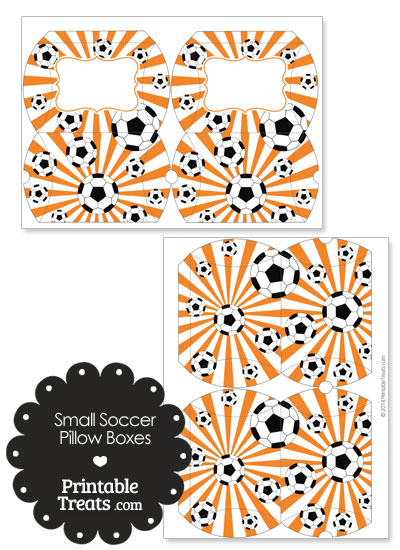 Orange Sunburst Soccer Party Small Pillow Boxes from PrintableTreats.com