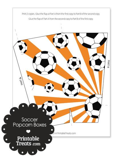 Orange Sunburst Soccer Popcorn Boxes from PrintableTreats.com