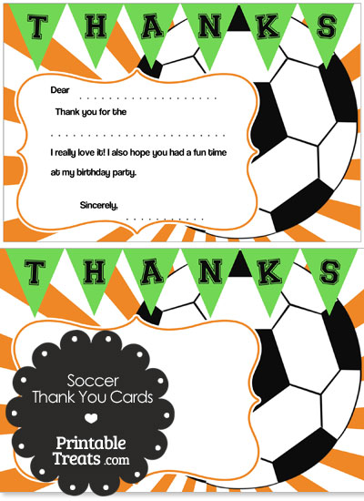 Orange Sunburst Soccer Thank You Cards from PrintableTreats.com