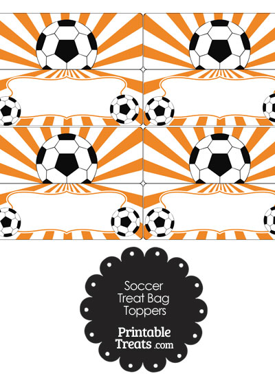 Orange Sunburst Soccer Treat Bag Toppers from PrintableTreats.com
