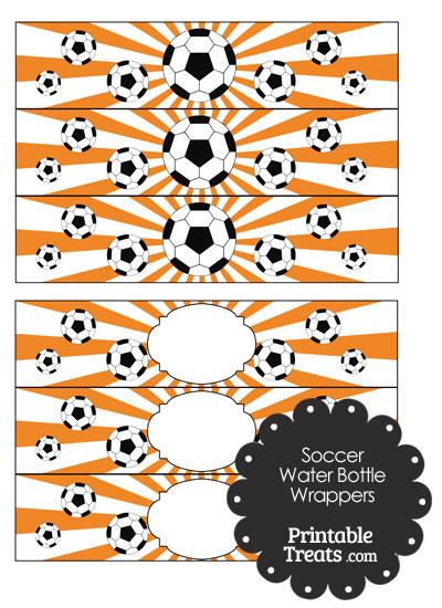Orange Sunburst Soccer Water Bottle Wrappers from PrintableTreats.com