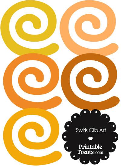 Orange Swirls Clipart from PrintableTreats.com