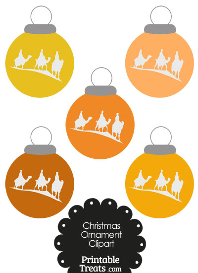 Orange Three Wise Men Christmas Ornament Clipart from PrintableTreats.com