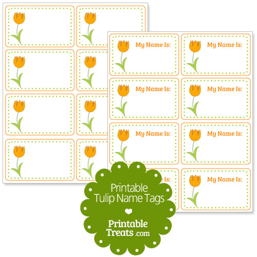 orange tulip name tags