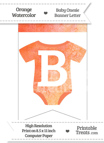 Orange Watercolor Baby Onesie Bunting Banner Letter B from PrintableTreats.com