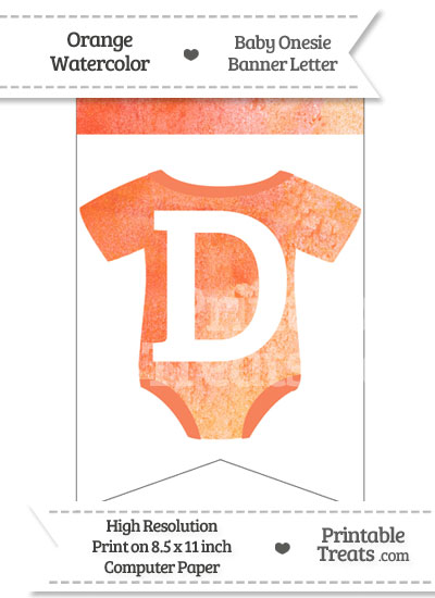 Orange Watercolor Baby Onesie Bunting Banner Letter D from PrintableTreats.com