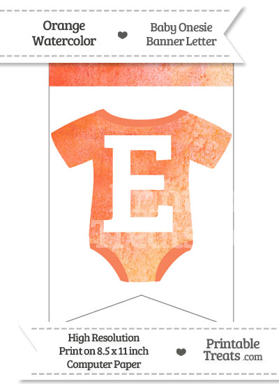 Orange Watercolor Baby Onesie Bunting Banner Letter E from PrintableTreats.com