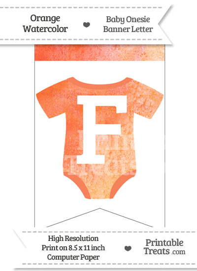 Orange Watercolor Baby Onesie Bunting Banner Letter F from PrintableTreats.com