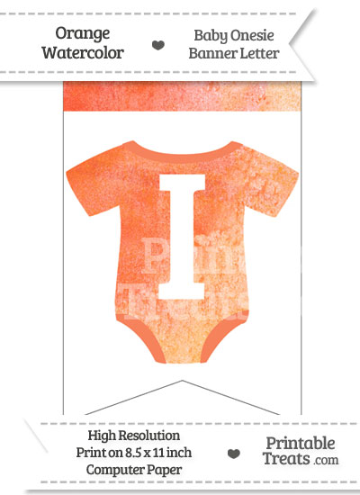 Orange Watercolor Baby Onesie Bunting Banner Letter I from PrintableTreats.com
