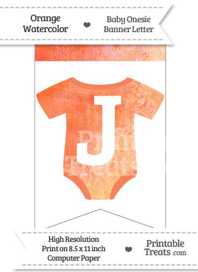 Orange Watercolor Baby Onesie Bunting Banner Letter J from PrintableTreats.com