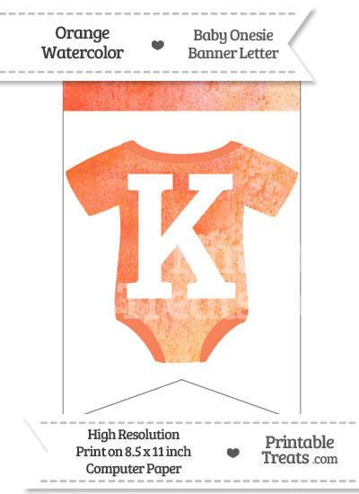 Orange Watercolor Baby Onesie Bunting Banner Letter K from PrintableTreats.com