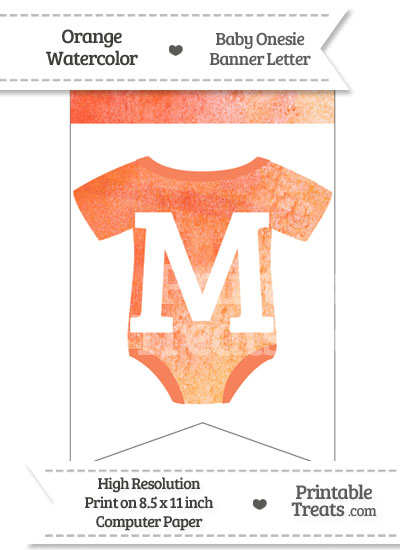Orange Watercolor Baby Onesie Bunting Banner Letter M from PrintableTreats.com