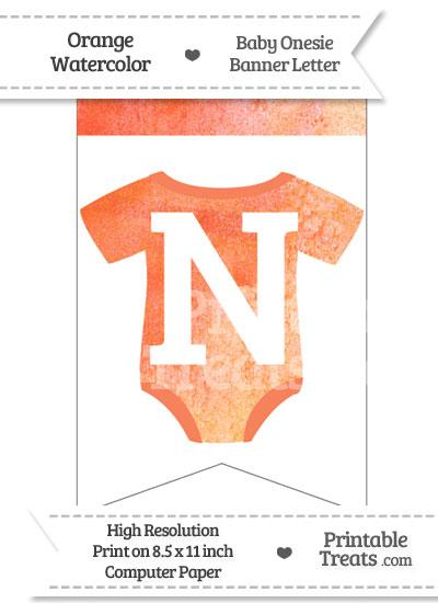 Orange Watercolor Baby Onesie Bunting Banner Letter N from PrintableTreats.com
