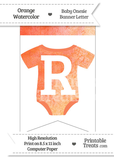 Orange Watercolor Baby Onesie Bunting Banner Letter R from PrintableTreats.com