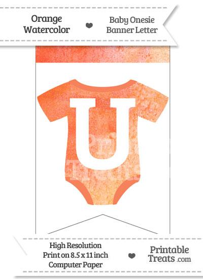 Orange Watercolor Baby Onesie Bunting Banner Letter U from PrintableTreats.com